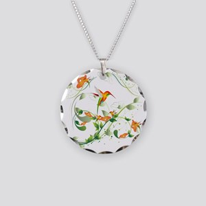Hummingbird Morning Necklace Circle Charm