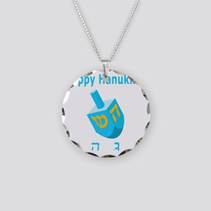 Dreidel 7 Blue 3D Necklace Circle Charm