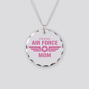 Proud Air Force Mom W [pink] Necklace Circle Charm