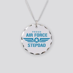 Proud Air Force Stepdad W Necklace Circle Charm