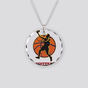 Basketball Logo with Layup Necklace Circle Charm
