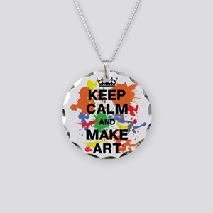 Keep Calm and Make Art Necklace Circle Charm