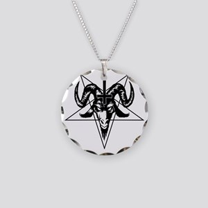 Satanic Goat Head with Penta Necklace Circle Charm