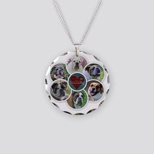 English Bulldog collage Necklace Circle Charm