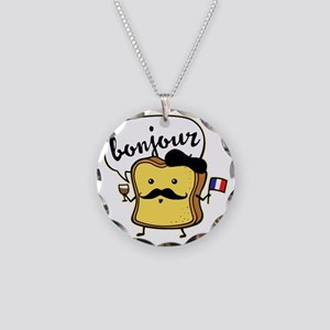 French Toast Necklace Circle Charm