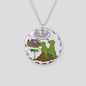 Noah and T-Rex, Funny Necklace Circle Charm