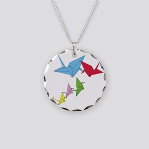 Origami Family Necklace Circle Charm
