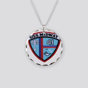 uss midway patch transparent Necklace Circle Charm