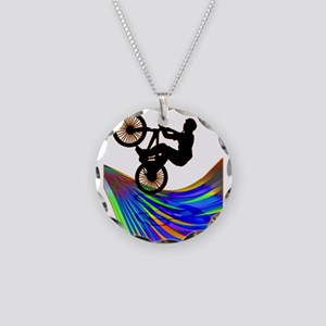 BMX on a Rainbow Road Necklace Circle Charm