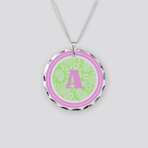 Lime Paisley Monogram-A Necklace Circle Charm