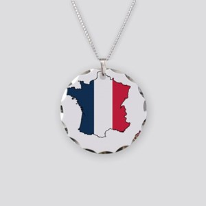 Flag Map of France Necklace Circle Charm