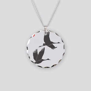 Soaring Cranes Necklace Circle Charm