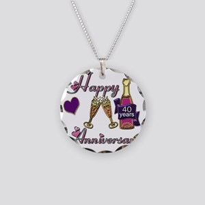 Anniversary pink and purple  Necklace Circle Charm