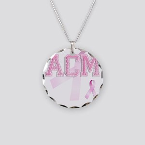 ACM initials, Pink Ribbon, Necklace Circle Charm