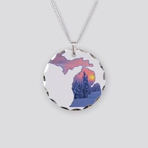 Michigan  Necklace Circle Charm