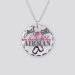 Just a girl Airman Necklace Circle Charm