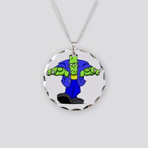 Cartoon Frankenstein Necklace Circle Charm