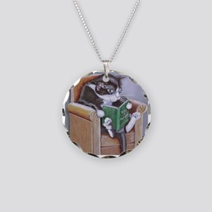 Reading Cat Necklace Circle Charm