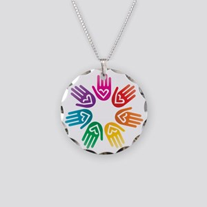 Rainbow Heart Hand Circle Necklace