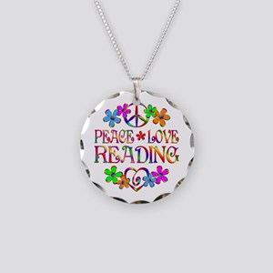 Peace Love Reading Necklace Circle Charm