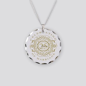 25th Wedding Anniversary Necklace Circle Charm