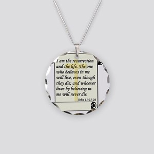 John 11-25-26 On Paper W Cro Necklace Circle Charm