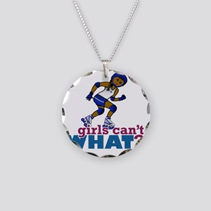 Blue Roller Derby Girl Necklace Circle Charm