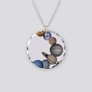 Planet Swirl Necklace Circle Charm