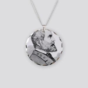 Robert E Lee Portrait Illust Necklace Circle Charm