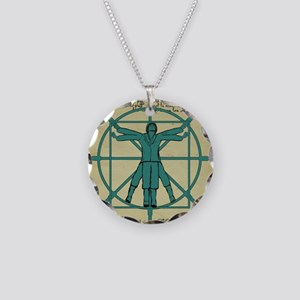 Vitruvian Man at the Wheel Necklace Circle Charm