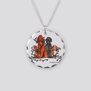 Dog Christmas Party Necklace Circle Charm