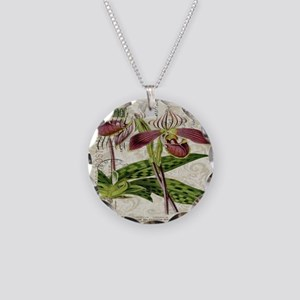 vintage french botanical orc Necklace Circle Charm