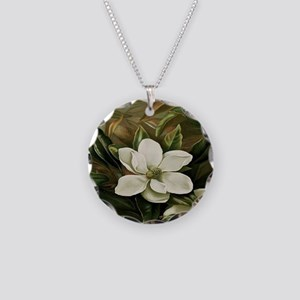Magnolia Necklace Circle Charm