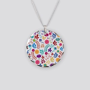 Cute Whimsical Floral Boho C Necklace Circle Charm