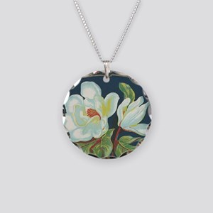 Magnolia antique cigar label Necklace Circle Charm
