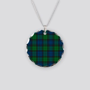 Black Watch Tartan Plaid Necklace Circle Charm