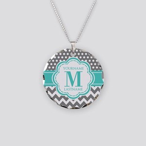 Personalized Polka Dots Chev Necklace Circle Charm