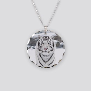 White Tiger Necklace Circle Charm