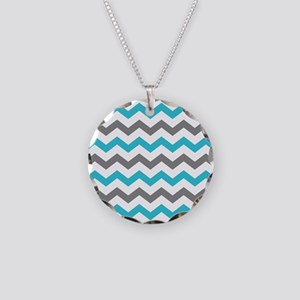 Teal and Gray Chevron Pattern Necklace