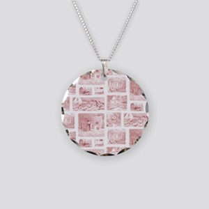 cottage toile shower curtain Necklace Circle Charm