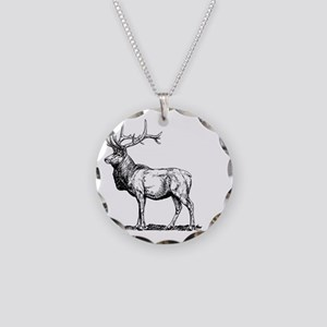 Stag Necklace Circle Charm