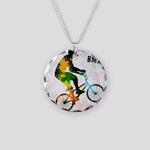 BMX Rider with Abstract Pain Necklace Circle Charm