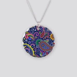colorful paisley Necklace Circle Charm