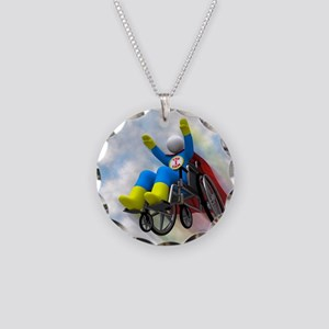 Wheelchair Superhero in Flig Necklace Circle Charm