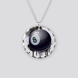 Abstract Black Ink Splotch w Necklace Circle Charm