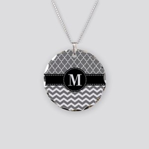 Black Gray Chevron Monogram Necklace Circle Charm