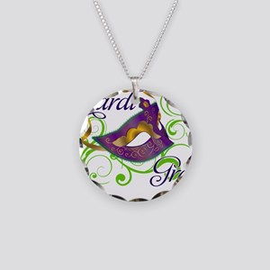 MardiGras Necklace Circle Charm