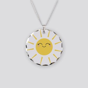 Kawaii smiley sun Necklace Circle Charm