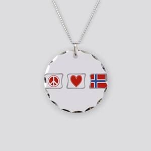 Peace, Love and Norway Necklace Circle Charm