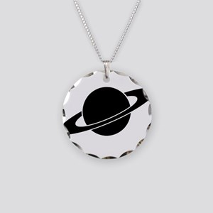 BlackSaturn Necklace Circle Charm